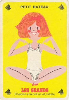 vintage french mid century card game ad from clothing company petit bateau - Jeu-petit-bateau-les-grands-fille-vintage-enfant-rocket-lulu