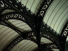 Henri Labrouste (1801—1875). Bibliothèque Sainte-Geneviève, Paris, 1838-1850. Steel trusses of the reading room