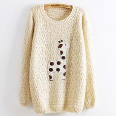 Beige Super Adorable Cartoon Giraffe Loose Pullover Sweater
