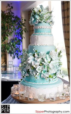 Tiffany Blue Wedding Cake with White Vintage Lace, Silver Pearl Accents & Sugar Florals