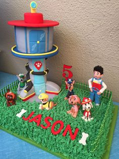 Jason's Paw Patrol look out tower cake for his 5th birthday.
