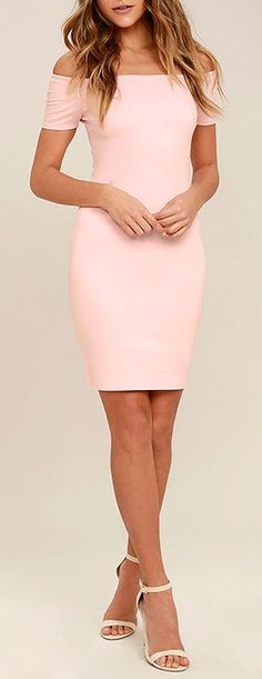 You& sure to get more than a handful of numbers over the course of a night spent in the Me Oh My Blush Pink Off-the-Shoulder Bodycon Dress! Darted knit bodice and fitted skirt meet short, off-the-shoulder sleeves with no-slip strips. Homecoming Dresses Tight, Grad Dresses, Tight Dresses, Cute Dresses, Dress Outfits, Short Dresses, Fashion Dresses, Dress Up, Formal Dresses