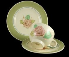Produced in many variations and colour palettes 'Patricia Rose', was perhaps the most recognisable and popular of Susie Cooper's earthenware patterns.