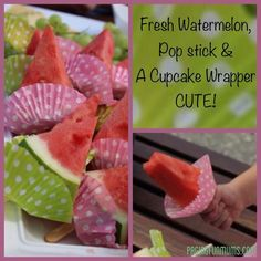 Super Cute for summer Party! Watermelon Pops + awesome kids party food idea Cut the watermelon the night before, thick slices into halves then 6 pieces from each half. Cut a hole for the stick first! Put the paper on last minute before serving, Cute Food, Yummy Food, Snacks Für Party, Dessert Party, Kid Snacks, Party Party, Kids Meals, Sweet Treats, Food And Drink