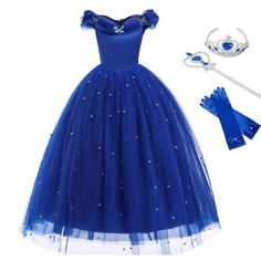 Cinderella Dress For Girls, Disney Princess Dresses, Princess Girl, Cinderella Princess, Cinderella Cosplay, Blue Party Dress, Blue Gown, Girls Party Dress, Girls Dresses