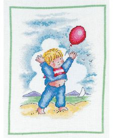 grafico punto de cruz gratis en pdf con dibujo infantil de niño con globo