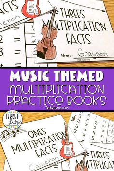 Music themed multiplication practice books combine math and art to make learning multiplication facts fun. Students color and make their own music themed multiplication facts practice books for each fact family 1-12. Great for math centers, early finishers, or just a fun multiplication review Sixth Grade Math, Fourth Grade Math, First Grade Math, Learning Multiplication Facts, Teaching Math, Math Games, Teaching Ideas, Book Activities, Division Activities