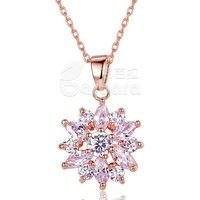 Barbara丨Fashion Cubic Zircon 18K Gold Plated Flower Pendants Necklaces