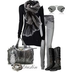 gray skinny jeans, created by gustinz.polyvore.com