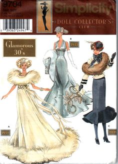 Simplicity 9704 Glamorous 30s Fashion Doll Clothes Pattern 11 1/2  Barbie Sewing Pattern UNCUT