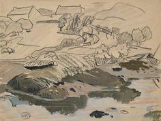 """Mathurin MEHEUT (1882-1958), """"Doëlan"""", fusain et gouache"""