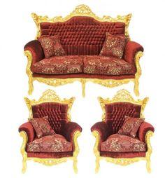 AuBergewohnlich Casa Padrino Barock Wohnzimmer Set Master Bordeaux Muster Samtstoff / Gold    2er Sofa + 2 Sessel   Limited Edition