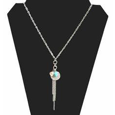Southwestern turquoise rhinestone circle and fringe necklace