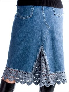 blue, blanket stitch, crochet edgings, jean skirts, crochet embellishments, crochet crafts, yarn, denim skirts, old jeans