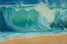 oil painting giclee PRINT wave sea ocean seascape blue green foam sun water home decor palette knife reproduction FREE SHIPPING