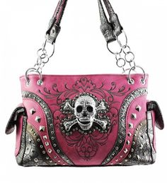 Pink Skull Studded Conceal and Carry Purse W Matching Wallet. Beautiful matching concealed purse and wallet set. Purse Size: X X Wallet Size: X X Faux Leather. One Concealed Handgun Pocket on Back Size x Skull Purse, Concealed Carry Purse, Concealed Handgun, Estilo Rock, Pink Skull, Skull Fashion, Punk Fashion, Lolita Fashion, Gothic Fashion