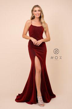 Dark Red Dresses, Burgundy Dress, Maroon Prom Dress, Burgundy Prom Dresses Long, Scoop Neck Dress, Slit Dress, Body Hugging Dress, Trumpet Dress, Party Dresses For Women