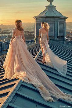 galia lahav gala fall 2016 bridal gowns stunning wedding dresses blush pink ball gown short mini skirt full length see through overskirt style 605 n 607 back view