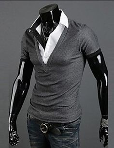 Sleeve Length: Full is_customized: Yes Style: Casual Collar: V-Neck Fabric Type: Knitted Material: Cotton,Polyester,Cashmere,Acrylic Item Type: Tops Tops Type: Tees Gender: Men Style: Polo, Rugby Material: Cotton Blend Camisa Polo, Stylish Shirts, Grey Shirt, Mens Clothing Styles, Asian Men, Manga, Hooded Sweatshirts, V Neck, Mens Fashion