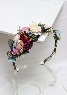 Ready to ship Floral crown  Boho flower crown Flower halo Bridal floral crown Wedding flower crown  Floral head wreath Girl flower crown