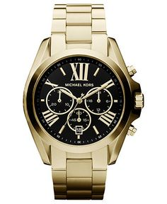 Michael Kors Watch, Women's Chronograph Bradshaw Gold Tone Stainless Steel Bracelet 43mm MK5739 - First @ Macy's! - - Macy's