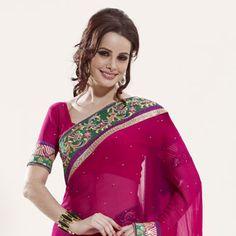 Rani #Pink #Saree with Blouse