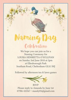 Baby naming ceremony invitation graphic design pinterest jemima puddle duck naming day ceremony invitation stopboris Image collections