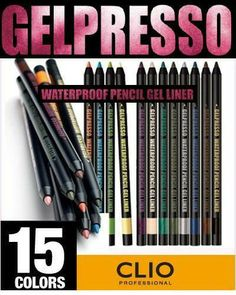 CLIO Gelpresso Waterproof Pencil Gel EyeLiner/Eye Shadow-15 colors