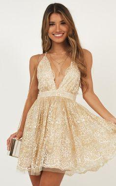 69cbb376802 Drop Of Magic Dress In Gold Produced