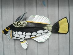 clown trigger fish made entirely from materials I gather from Florida Keys palm trees