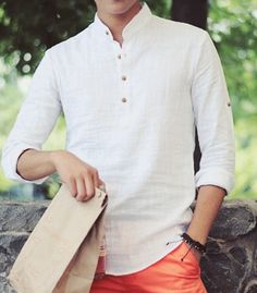 Stylish Stand Collar Slimming Solid Color Button Design Long Sleeve Cotton+Linen T-Shirt For Men Trendy Mens Fashion, Indian Men Fashion, Casual T Shirts, Cool T Shirts, White Linen Shirt, White Tees, Blazer Outfits Men, Linen Tshirts, Shirt Style