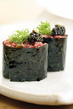 WAGYU GUNKAN, wagyu sushi, oscietra caviar, spring onion and fresh ginger @ Roka, London.