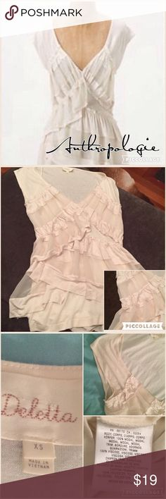 """Anthro Deletta Cream Ribbon Ruffle blouse XS Cream Ribbon Ruffle Blouse by Anthropologie Deletta, V-neck with layered ruffles down the front and around the lower back. 26"""" long and 16"""" across bust. Lightly worn, but super cute on Anthropologie Tops Blouses"""