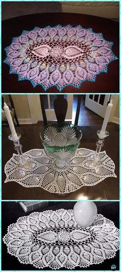 Crochet Oval Pineapple Doily Free Pattern - Crochet Doily Free Patterns - 16 patterns here Free Crochet Doily Patterns, Crochet Motif, Crochet Designs, Free Pattern, Crochet Lace, Crochet Tablecloth Pattern, Crochet Curtains, Crochet Borders, Crochet Squares