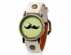 New Fashionable Women's Beard Pattern Round Dial Analog Watch Faux Leather White