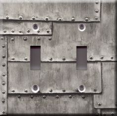 Light Switch Plate Cover - Industrial metal grey faux finish - Iron silver steel