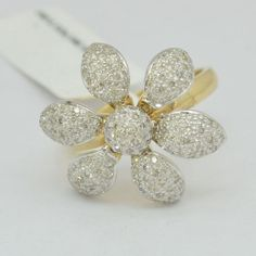 Rosamaria G Frangini | MyFlowerJewellery |  14K Gold Diamond Ring, 40% Discounted Price, 0.73 Carat DIAMOND Flower Ring, Moveble Flower Petals White Yellow Gold R1977