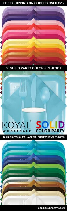 Bulk Color Party Supplies for Wedding, Bridal Showers, Rehearsal Dinners, or Engagement Ceremony. Mix/Match 30 Beautiful Colors - Color Coordinate. Bulk plates, napkins, cups, tablecovers, table rolls, cutlery, bowls, and more!