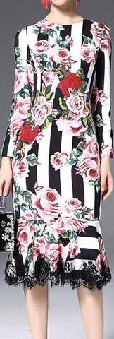 Floral & Stripe Brocade Lace-Trim Long-Sleeve Midi Dress
