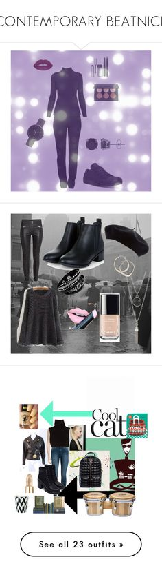 """""""CONTEMPORARY BEATNICK"""" by michelle858 ❤ liked on Polyvore featuring Moschino, Rumour London, Converse, I Love Ugly, BERRICLE, L.A. Girl, Anastasia Beverly Hills, Bobbi Brown Cosmetics, Winter and casual"""