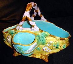 Majolica Minton bee basket by Antique Majolica Specialist, via Flickr