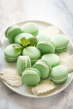 Mint French Macarons Sweet amp Savory by Shinee: Refreshing mint French macarons with minty white chocolate ganache filling are perfect to welcome the spring! Tea Cakes, Mini Cakes, Ganache Macaron, Pistachio Macarons, Ganache Recipe, Chocolate Ganache Filling, Chocolate Cream, Chocolate Hazelnut, Chocolate Recipes