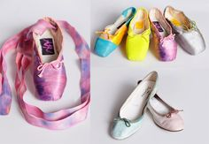 Repetto + ALR (Audrey Louise Reynolds) hand-painted pointe shoes ($65 to $150) and ballet flats ($285), naturally dyed with berries, turmeric, roses, and more. At Opening Ceremony, 35 Howard St., nr. Broadway; 212-219-4171.