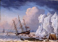 Painting by Thomas Binks of Hull whaling ship The Dauntless, which was caught in ice and sank off Greenland in 1829. You can see the crew salvaging the ship's contents. A model of another whaling ship, The Swan, is on display at Hull Maritime Museum, along with its log book © Hull Museums