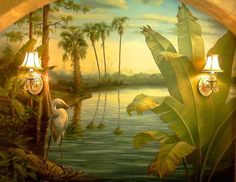 Powder Bath Feature Wall Mural   Bella Arte Studio