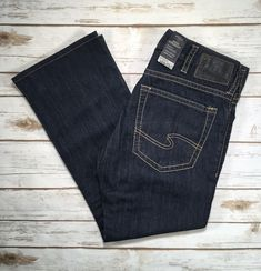 Medium-Dark Blue Silver Jeans Mens Nash Straight Leg Slim Fit Jean 29X32
