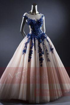 robe habillée  L719  Gemstone Blue et blanc casse