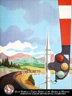 Great Northern  Empire Builder Poster  Vintage Railroad Train 1950s Art  Deco  8 x 11.5""