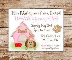 DIY Printable    Puppy Invitation for Girls  by CelebrateLilThings, $12.00