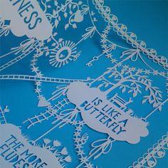 Original Hand Cut Papercut - Happiness is like a Butterfly - Beautifully Inspiring Papercut Art